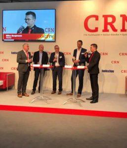 Mike Bergmann stellt visoma tickets bei CRN in der Podiumsdiskussion auf der CeBit 2017 vor.